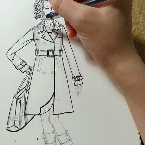 服装设计师##手绘图教程#【服装手绘效果过程】步骤