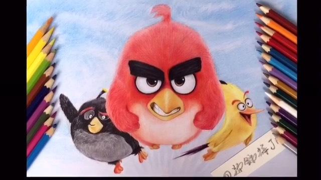 愤怒的小鸟,手绘彩铅画!